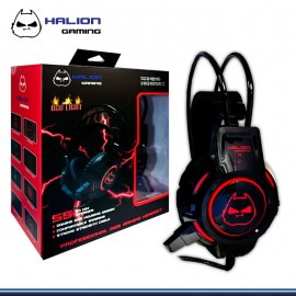 AUDIFONO GAMER C/MICROFONO HALION S5 C/ LUCES BLACK/RED USB