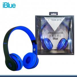 AUDIFONO IBLUE SCREAM S019 CON MICROFONO BLUETOOTH/FM/MICRO SD BLACK BLUE (PN:S019-BB)