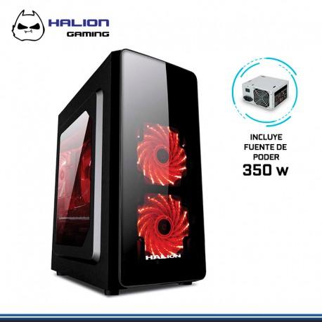 CASE HALION SCORPIO BLACK 5506 C/ F 350W REAL, LED ROJO USB 3.0
