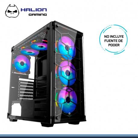 CASE HALION GAMER SPIDER SIN FUENTE, C907 V. TEMPLADO RGB