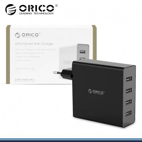 CARGADOR DE PARED NEGRO CAJA USB 4 PUERTOS ORICO 5V 2.4V (PN:DCW-4V-EU-BK)