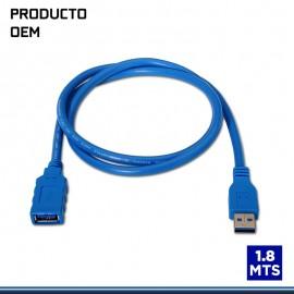 CABLE DE EXTENSION USB V3.0 TAMAÑO 1.8MTS AZUL