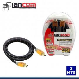 CABLE HDMI LANCOM 3 MTS BLACK C/ MALLA ESTUCHE 2.0