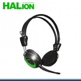 AUDIFONO HALION T-3 CON MICROFONO NEGRO CON VERDE