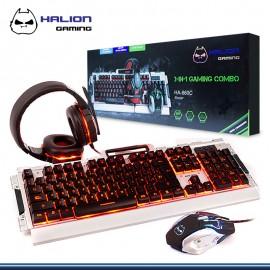 KIT HALION GAMER PANZER 3 EN 1 TECLADO+ MOUSE+ AUDIFONO HA-860C