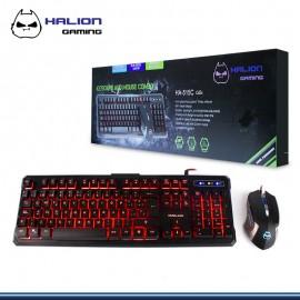 KIT HALION ODIN TECLADO + MOUSE GAMER HA-515C LED USB 3 COLORES