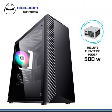 CASE GAMER HALION LIGHTNING 500W RGB ,VIDRIO TEMPLADO