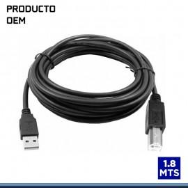 CABLE USB PARA IMPRESORA V2.0 TAMAÑO 1.8MTS CON FILTRO NEGRO