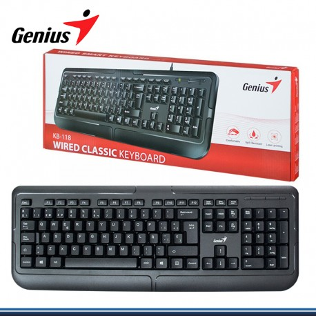 TECLADO GENIUS KB 118 USB ESPAÑOL BLACK PN:31300010401)