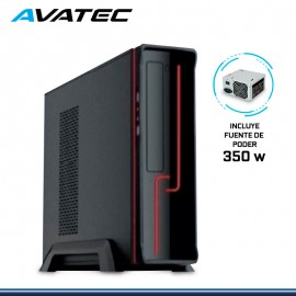 CASE AVATEC SLIM CCA-1304 BR C/FUENTE 350W REAL LED FRONTAL ROJO