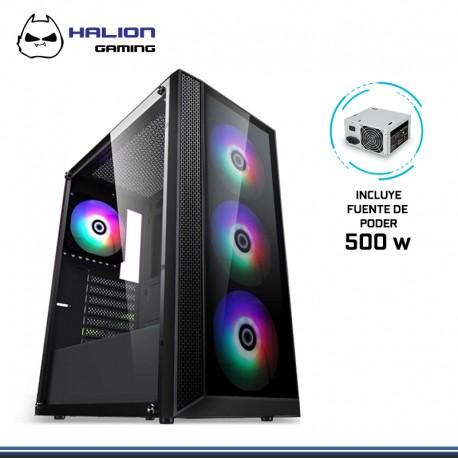 CASE HALION GAMER TRISTAR C/FUENTE 500W RGB V.TEMPLADO LATERAL FRONTAL