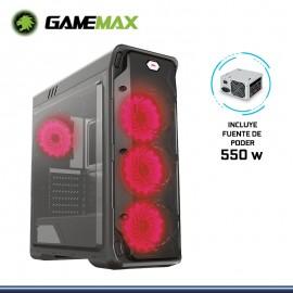 CASE GAMEMAX STARLIGHT COOLER LED ROJO CON FUENTE 550W USB 3.0/USB 2.0