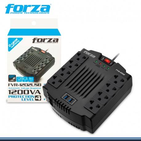 ESTABILIZADOR FORZA FVR-1202 1200VA/600V 220V 8TOMAS USB NEGRO