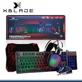 KIT GAMING XBLADE GAMING TECLADO + MOUSE + AUDIFONO + PAD MOUSE ASSASSIN (PN:GXB-KMHP409)