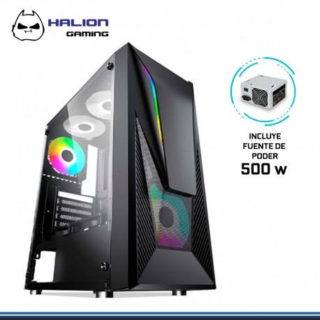 CASE HALION GAMER FALCON F/500 REALES 2 COOLER RGB VIDRIO TEMPLADO