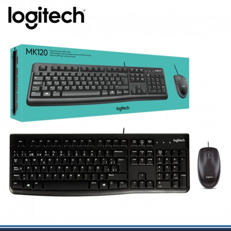 TECLADO LOGITECH + MOUSE MK 120 USB ESPAÑOL BLACK (PN:920-004428)