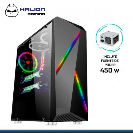 CASE HALION GAMER SPARTA 845 RGB VT.1 C/LATERAL C/FUENTE 450 REALES
