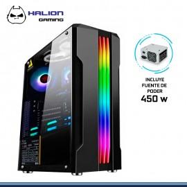 CASE HALION GAMING SPARTA 841 BANDA RGB VIDRIO TEMPLADO CON FUENTE 450W USB 3.0/USB 1.0