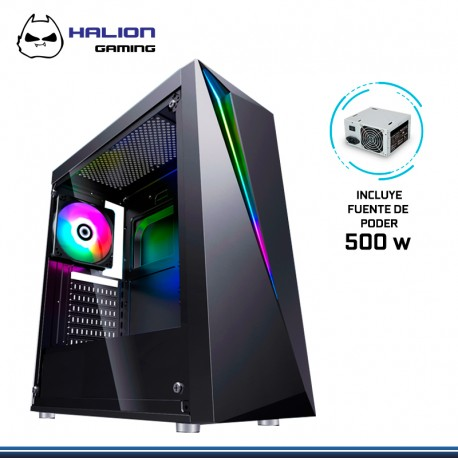 CASE GAMER HALION FLASH CH03 BK RGB BLACK V.TEMPLADO
