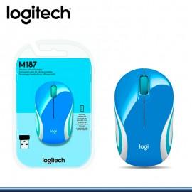MOUSE LOGITECH M187 MINI WIRELESS BLUE (PN:910-005360)