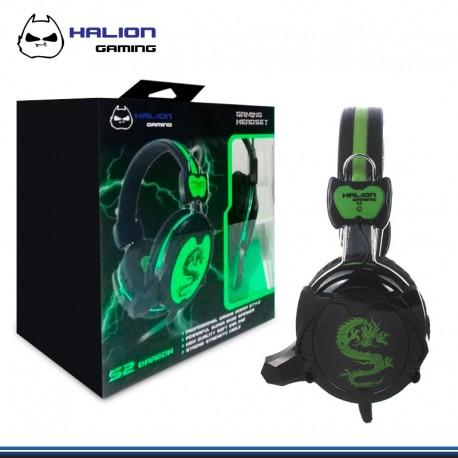 AUDIFONO GAMER C/MICROFONO HALION S2 DRAGON BLACK/GREEN