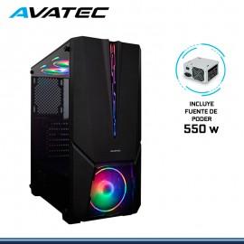 CASE AVATEC CCA-5002B RGB CON FUENTE 550W VIDRIO TEMPLADO USB 3.0