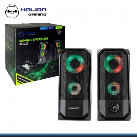 PARLANTE HALION HA-S261 GAMER DE 3W*2 RGB 2.0 USB
