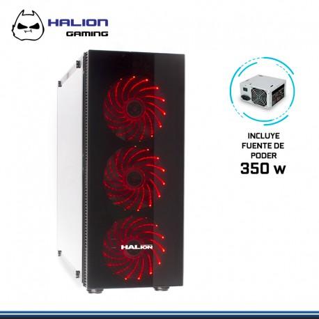 CASE HALION SCORPIO BLACK 5490 F 350W REAL, 3 COOLER ROJO FRONTAL USB 3.0