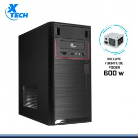 CASE XTECH XTQ-100 BLACK RED CON FUENTE 600W USB 2.0