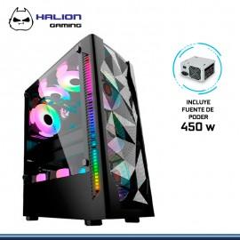 CASE HALION GAMING SPARTA 848 FAN CON FUENTE 450W VIDRIO TEMPLADO USB 3.0/USB 1.0