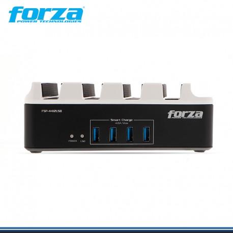 SUPRESOR DE PICOS FORZA 4 TOMAS + 4 PUERTOS USB | SOPORTE P/TELEFONO MOD: FSP-4412USB