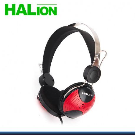AUDIFONO HALION HA-222 CON MICROFONO NEGRO/ROJO