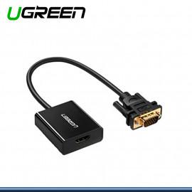 ADAPTADOR UGREEN VGA A HDMI CON CONECTOR DE AUDIO (PN:60814)