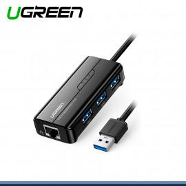 ADAPTADOR DE RED UGREEN USB GIGABIT A RJ45 + HUB USB 3.0 DE 3 PUERTOS COD. 20265
