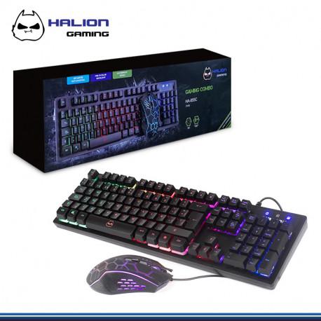 KIT HALION STUKA HA 855C TECLADO + MOUSE USB LUCES LED